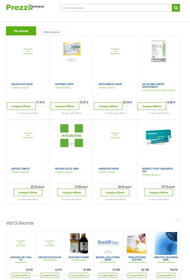 Portale comparatore prezzi prezzifarmaco.it